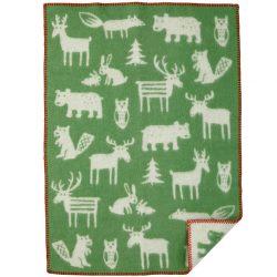 Barnfilt Forest grön ekologisk ull