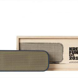 aGROOVE, Bluetooth-högtalare, Blå med guldfront