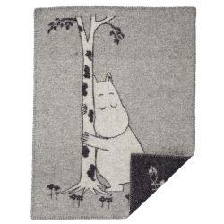 Barnfilt Mumin grå ekologisk ull