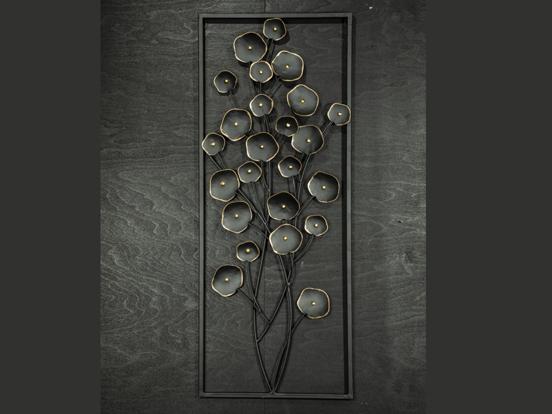 Tavla med blommor metall